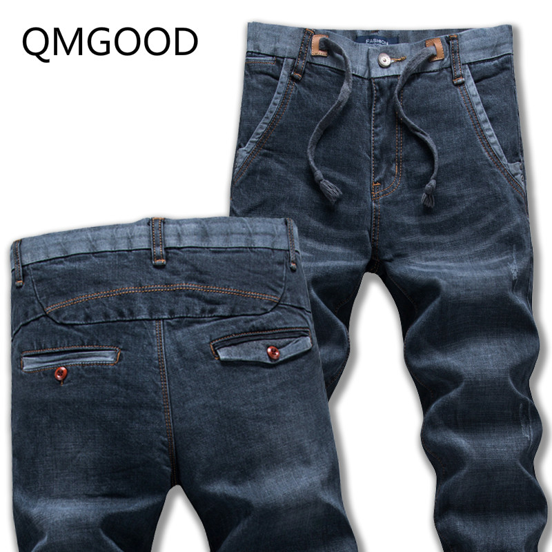 QMGOOD 2017 Spring and Autumn Stretch The Waist Youth Stretch Jeans Fashion and Leisure Men Korean Slim Was Thin Elastic Pants