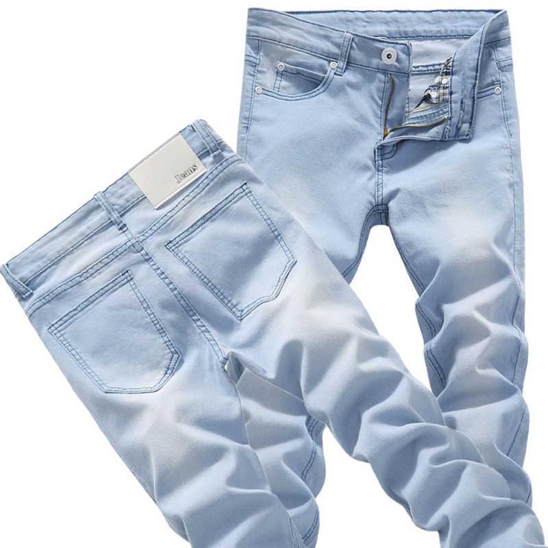 Pantalones Vaqueros Ajustados Elasticos Para Adolescentes Pantalones Vaqueros Azules Claros Populares Para Hombre Jeans Pants Jeans Pant Maledenim Pants Aliexpress