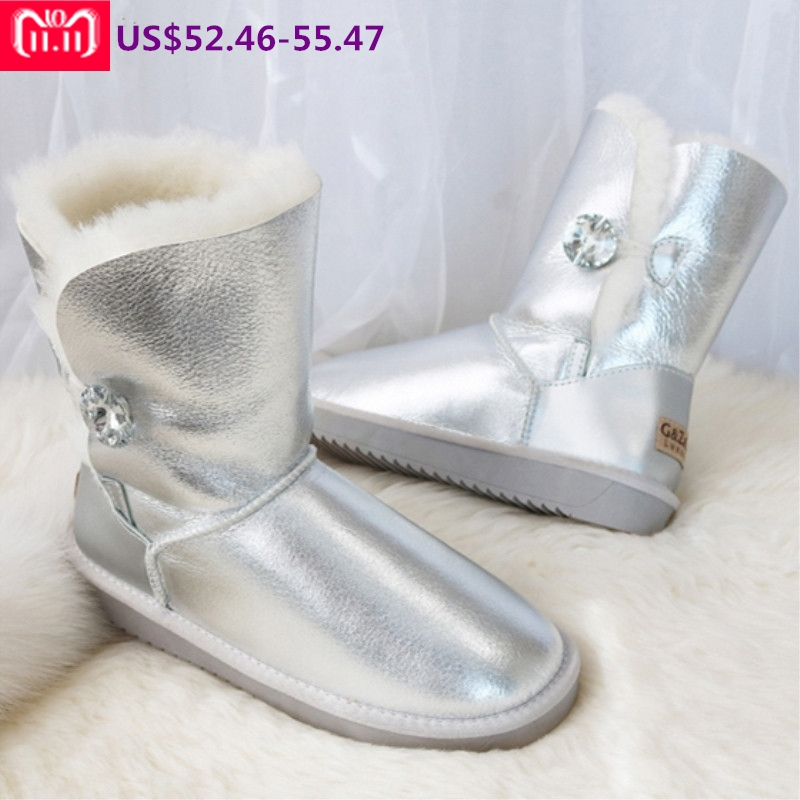 G&Zaco Luxury Winter Fur Boots Australia Sheepskin Snow Boots Natural Wool Mid Calf Boots Crystal Button Non-slip Womens Boots australia new sheep fur one snow boots female calf height winter warm button pendant water proof boots free shipping