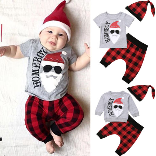 Christmas Newborn Baby Boy Clothing T shirt Tops Harem Pants Hat Cute 3pcs Outfits Set Clothes Sets Baby Boys 0-18M все цены