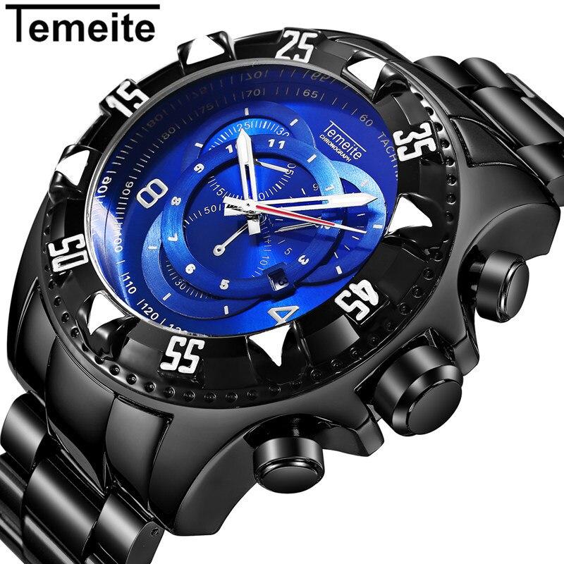 61bad1c604f ... Mens Relógios da Marca Grande Mostrador Azul Relógio Preto Aço  Inoxidável 316l Homem de Pulso Quartzo 30 m à Prova d  Água Temeite. -54%.  🔍. Relógios ...