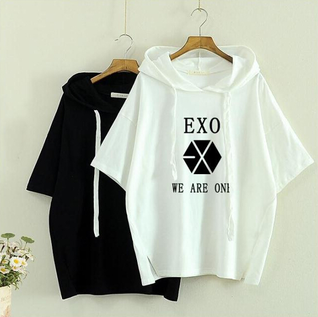 bts exo korean style got7 white t shirt t-shirt tshirt tops summer rock hipster hip hop women