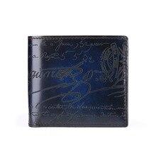 から 簡潔メーカー手作り革短財布男性高品質 色ショート財布彫刻高級ビジネス財布 4