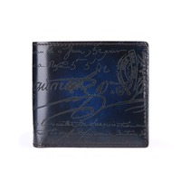 TERSE manufacturer handmade leather short wallet men high quality 4 colors short purse engraving luxury business wallet 0388 1