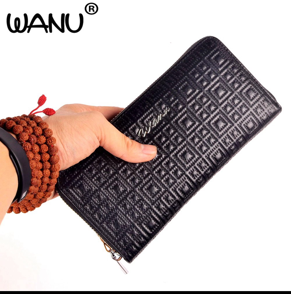 WANU 2017 New 100% genuine cow leather wallet , mens good quality purses money clips as gift for husband father boy