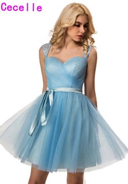 2017 Real Blue Short Bridesmaid Dresses Sweetheart Lace Pleats ...