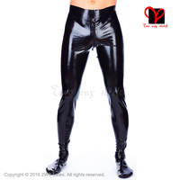Sexy Latex Pantyhose feet crotch zipper leggings Rubber boot pants black pantaloons Gummi Bottom socks tights XXXL KZ 062