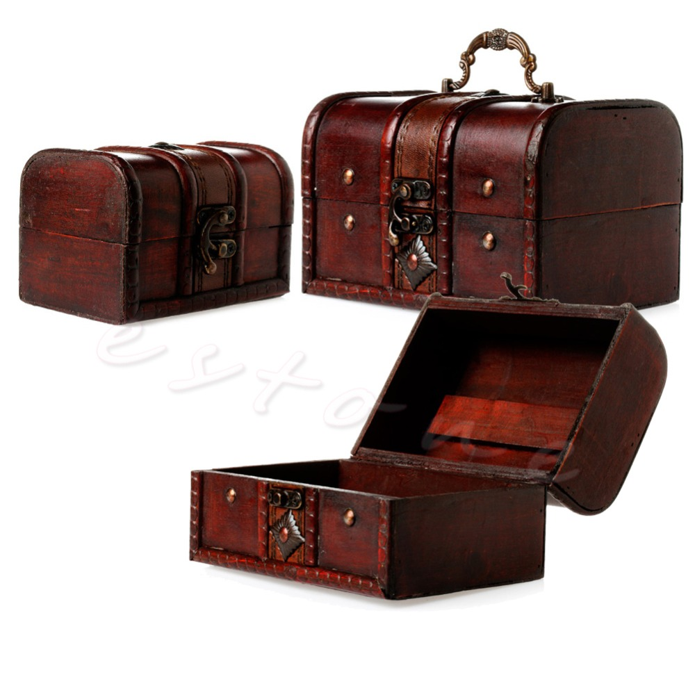 2Pcs/1Set Chic Wooden Pirate Jewellery Storage Box Case Holder Vintage Treasure Chest