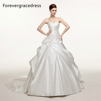 Forevergracedress Modest A Line Long Wedding Dress New White Beaded Satin With Lace Up Back Bridal