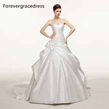 Forevergracedress Modest A Line Long Wedding Dress New White Beaded Satin With Lace Up Back Bridal Gown Plus Size Custom Made