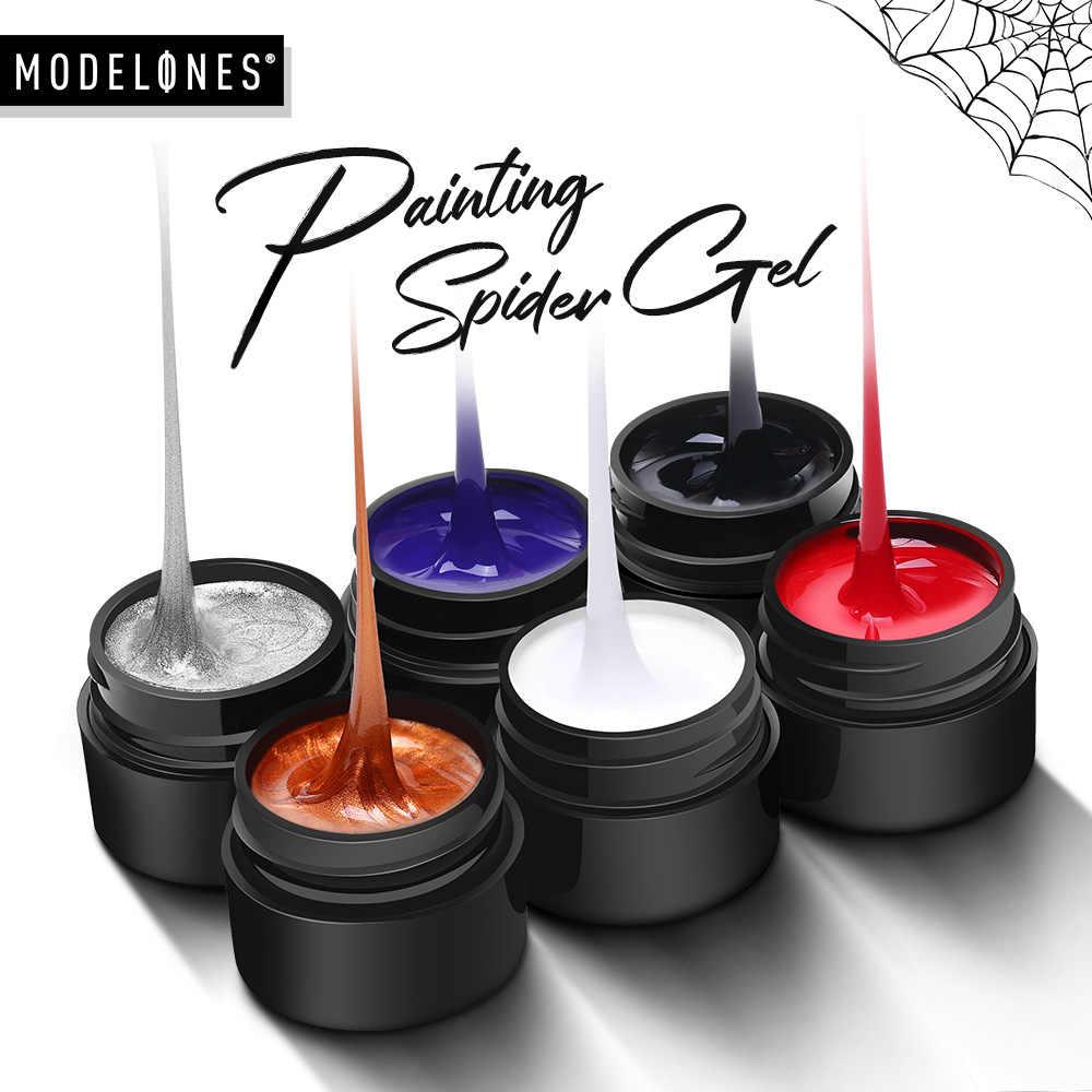 Modelos 6 colores arte de uñas línea de alambre de seda punto creativo tirar de alambre araña pintura Gel barniz diseño al azar DIY manicura