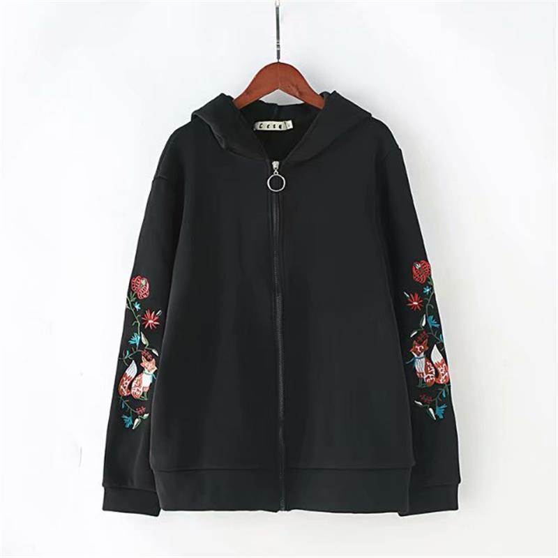 Sweat à capuche en coton brodé floral noir grande taille femmes fermeture éclair avec sweat en velours 2018 automne hiver à capuche dames hauts 4XL