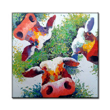 Hand Painted Colorful cow Oil Painting funny coll cartoon caw Paintings Modern Abstract green farm Wall Pictures cattle Canvas