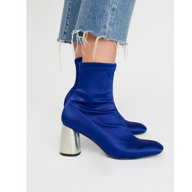 Woman Boots Fashion Chic Metallic Heel Women Shoes Back Zipper Ankle Boots Runway Super Star Short Booties Square Toe Hot Boots hot selling women charming flock back gold metallic 3d butterfly embellished short boots pointed toe suede leather ankle booties