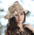 Free Shipping Ladies Dress Sinamay Derby Church Wedding Cocktail Evening Party Vintage Sun Cap Wide Brim Fedora Visors Berets