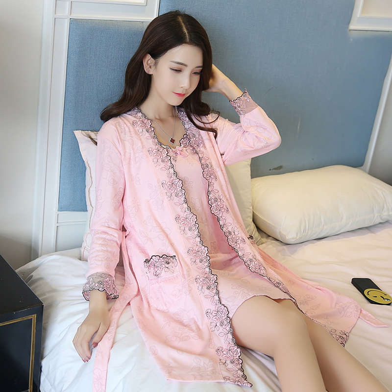d0513ff0e0 Elegant Silk Lingerie Set with Robe for Women Embroidery Robe and Spaghetti  Strap Nighties Dress Full