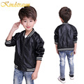 Kindstraum 2017 Kids Boys Fashion Baseball Jacket Kids Solid Faux Leather Coat Spring Autumn Outwear Boys PU Clothing, MC438