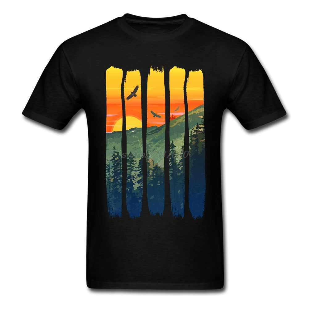 Nesting Eagles By The Summer Mountain Sunset Movie T Shirts Classic Teenage O Neck T-Shirt 3d Printed Crew Neck Adult T Shirts