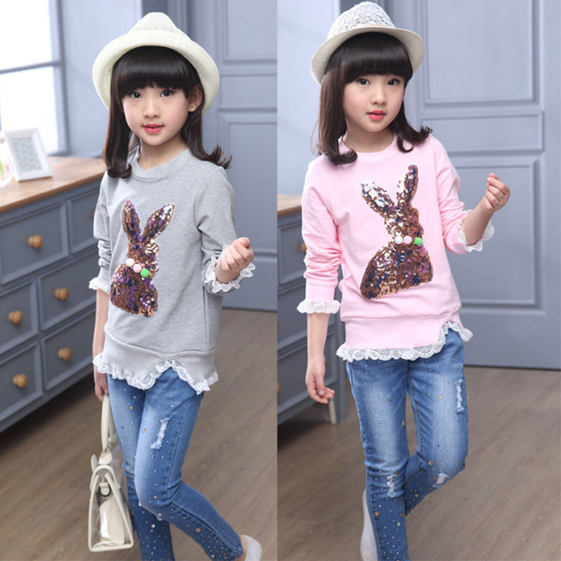 9135505d6 Detail Feedback Questions about Baby Girl Long sleeve T shirt child  sequined rabbit tops fall 2017 Fashion cotton Elastic Kids Girls Clothes 4  8 10 12 years ...