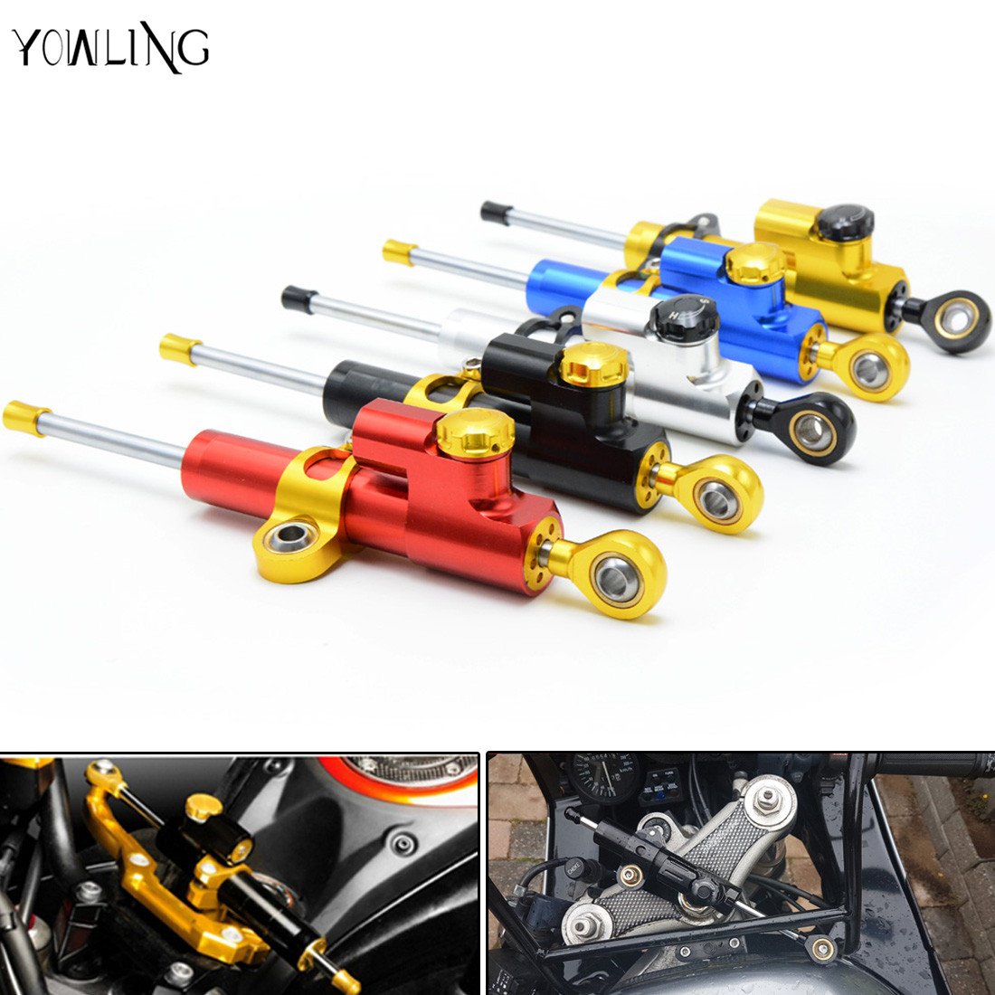 Motorcycle cnc Universal Stabilizer Damper Complete Steering Mounting Bracket For Kawasaki Z1000 Z800 Z750 EX-300 honda Yamaha for kawasaki z750 z800 z 750 z 800 universal motorcycle accessories stabilizer damper steering mounting all year