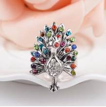 Hot Sale Color imitation crystal peacock butterfly ring tide three-dimensional hollow retro index finger jewelry(China)