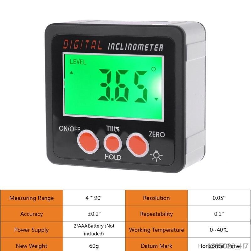 Digital inclinômetro eletrônico transferidor escudo da liga de alumínio caixa chanfrada medidor de ângulo ferramenta medição