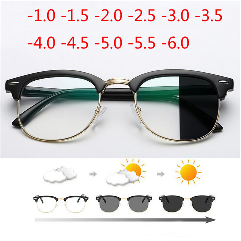 Anti Blue Light Photochromic Finished Myopia Glasses Photosensitive Chameleon Anti-glare Change Color Lens Prescription Glasses