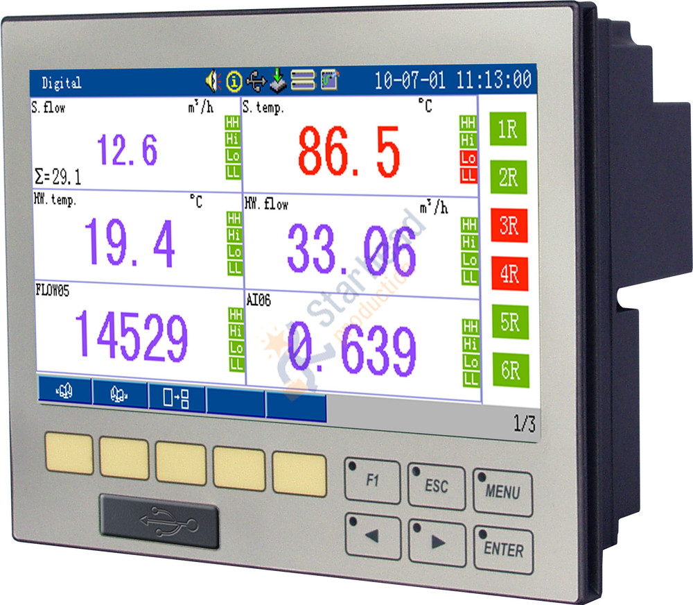 Event Data Logger With Screen : Customizable channel paperless recorder color