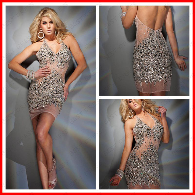 Nude Crystal Dress 2014 Free Shipping Sexy Dress of Tulle Short And  Colorful Rhinestone c6a9b04b3ebc