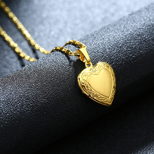 Hot Sale Metal Brass Gold color Heart Locket Pendant Necklace Photo Frame Memory Romantic Love Necklace for Women/gilrs Gift все цены