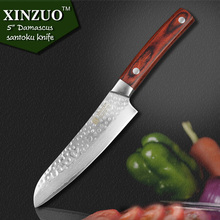 "HOT SALE XINZUO 5 "" japanese chef knife 67 layers Japanese Damascus kitchen knife VG10 santoku knife wood handle free shipping"