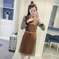 4xl plus big size women set clothing spring autumn winter 2017 feminina stripe shirts two piiece suits vest dress female A2850