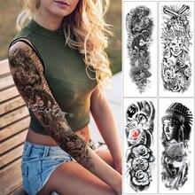 Large Arm Sleeve Tattoo Warrior Dragon Clock Lotus Waterproof Temporary Sticker Angel Saint Men Full Skull Totem Tatoo