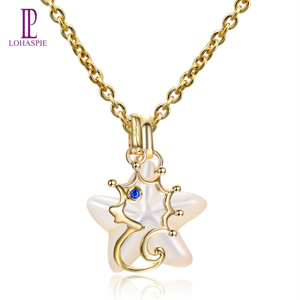Lohaspie Ocean Party Natural Sapphire Pendant Solid 9k Yellow Gold Mother of Pearl Sea Horse Fine Pearl Stone Jewelry Women Gift lohaspie ocean party natural sapphire pendant solid 9k yellow gold mother of pearl starfish fine fashion stone pearl jewelry new
