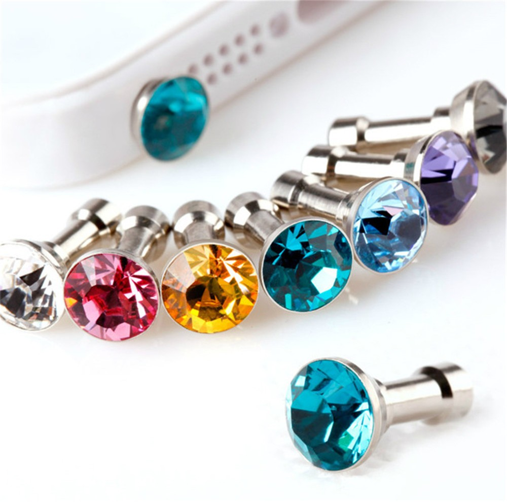 5pcs Bling Diamond Dust Plug Universal 3.5mm Cell Phone Earphone Plug For iPhone 6 5s Samsung HTC Sony Headphone Jack Stopper