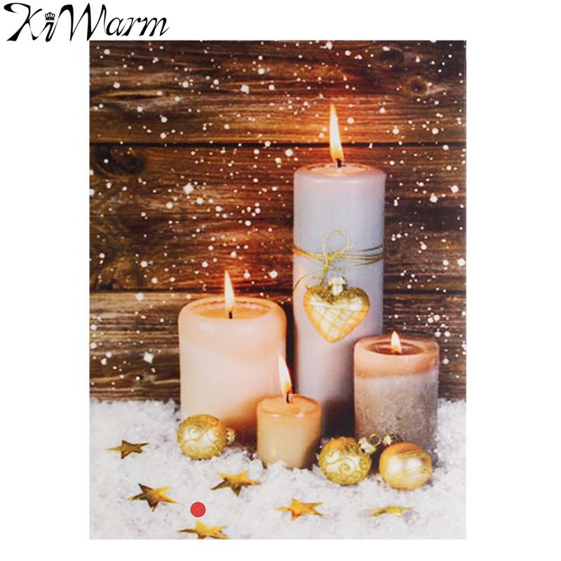 Flackern Weisse Kerzen Leuchten LED Leinwand Malerei Kunst Wandbild Fr Zuhause Wohnzimmer Hotel Weihnachten Decor Geschenke