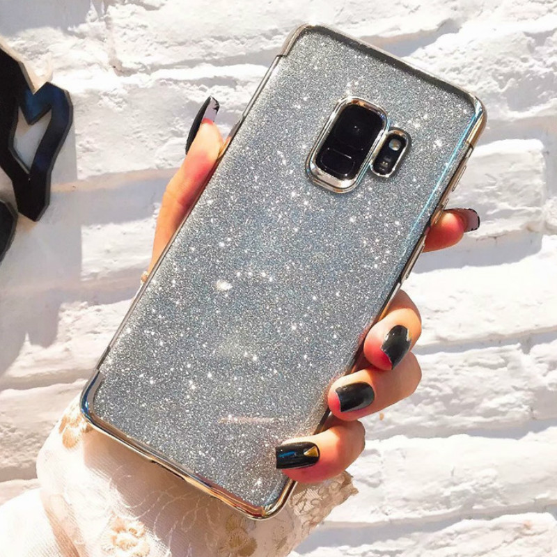 Case For Samsung Galaxy S6 S7 S8 S9 S10 S10E Plus Edge Note 8 9 Plating Silicone Soft Bling Glitter Sequins Cover Coque