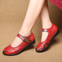 Mother Loafers Woman Genuine Leather Flat Shoes Breathable Soft Bottom Casual Shoes Women Big Size handmade Flat Shoes