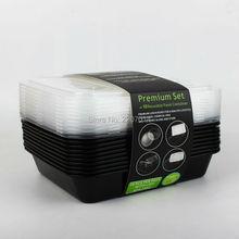 10 Stücke Einweg kunststoff snack 3-kammer-behälter mikrowellenfest schwarz Behälter mit deckel/teiler