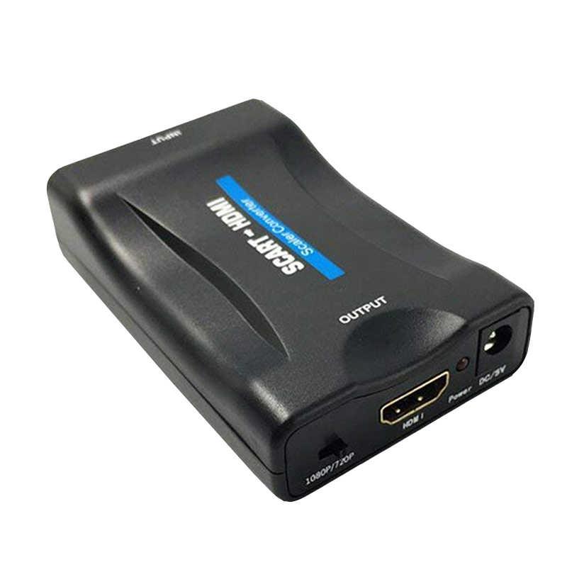 1080P Scart HDMI Adaptörü Yükseltici Video ses dönüştürücü Adaptörü Için HDTV STB VHS XBox PS3 Gökyüzü DVD Blu-ray