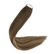 Full Shine Human Tape in Extensions 100g 40 PiecesBalayage Color #3T14P6 100% Remy Hair Seamless on