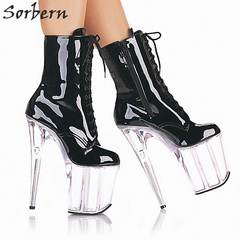 Sorbern See Through Perspex Heels 20Cm Women Boots Lace Up Womens Winter Ankle Short Boots Chunky Platform Boots Custom Color цена