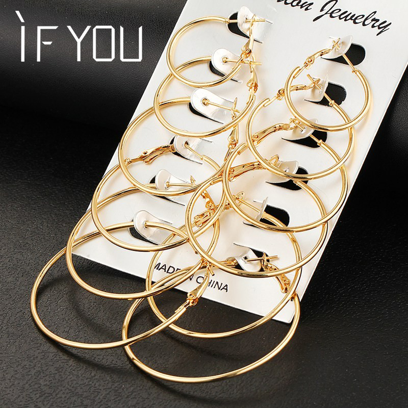 אם אתה 6 זוגות / סט אופנה אופנתי עגול זהב צבע רוק פאנק עגילים סט הגדר לאישה צד נשים עגילים האוזן תכשיטים מתנה