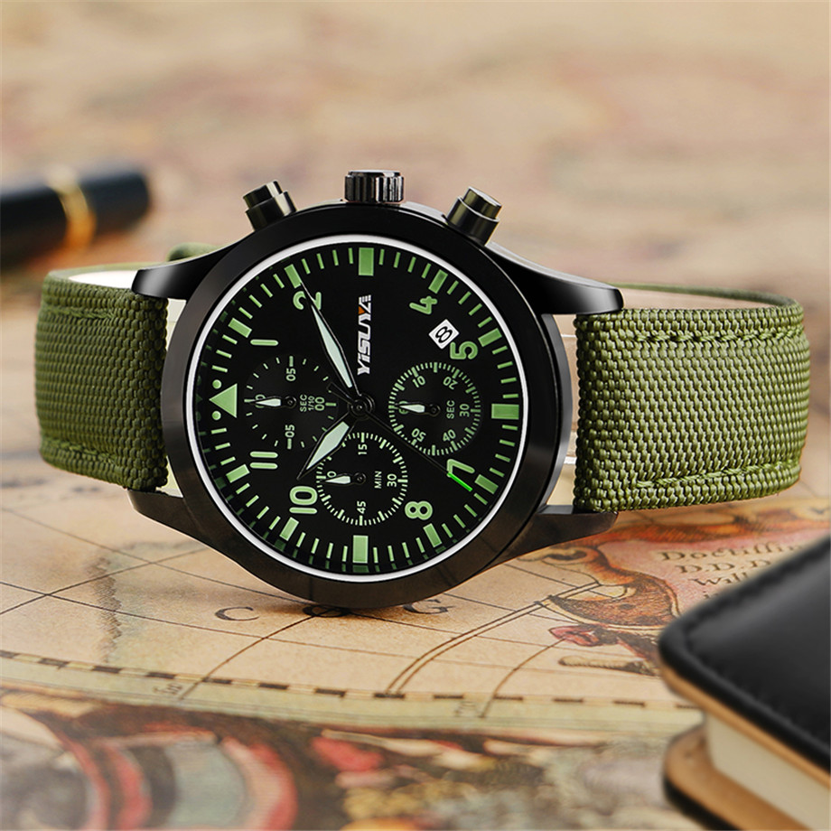 bd39e50d69f ... YISUYA Watch Men Chronograph Quartz Army Green Day Date Stylish Sport  Man s Wristwatches Aviator Nylon Strap ...