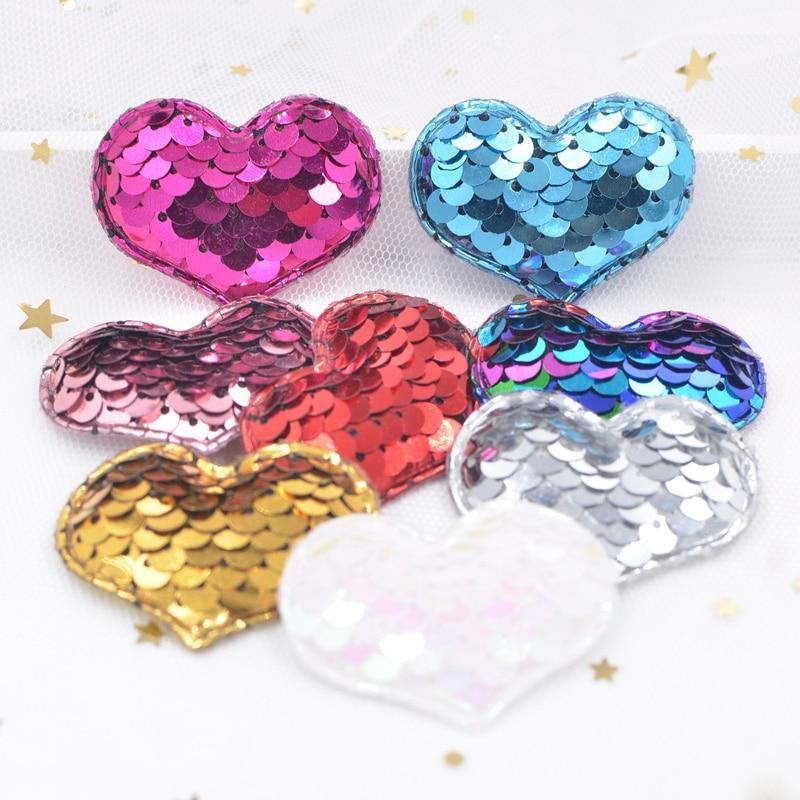 16 шт. высококлассные блестками сердца аппликации мягкий патчи для DIY для маленьких девочек волосы, клип, группа, головной убор, лук украшения F46