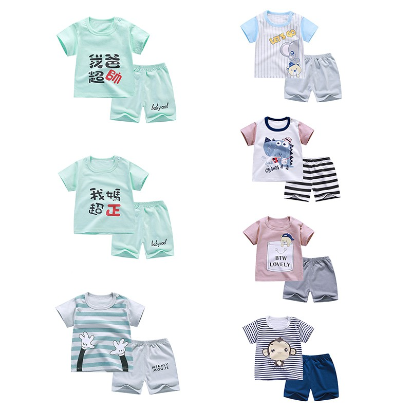2pcs/set Cartoon Baby Boy Outfit Set Summer Newborn Baby Sets Infant Girl Clothing Suits Short Sleeve Toddler Baby Girl Set summer 2017 newborn baby boy clothes short sleeve cotton t shirt tops geometric pant 2pcs outfit toddler baby girl clothing set