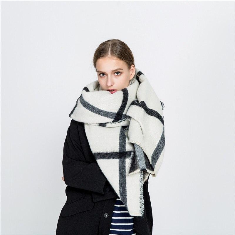 Winter Women Scarf  Black And White Double-sided Cashmere Imitation Scarf Beige Large Plaid Scarf Warm Fashion Shawl Poncho