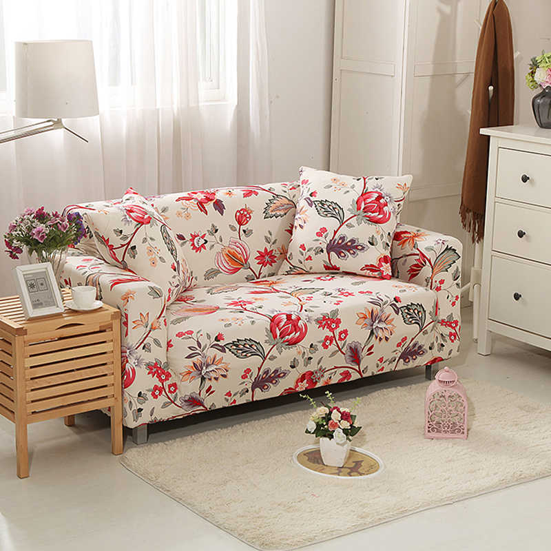 ضوء لون الطباعة أريكة التفاف ضيق شامل غطاء أريكة أنيقة مرونة أريكة منشفة الأثاث الغلاف 1/2/3/4 مقاعد