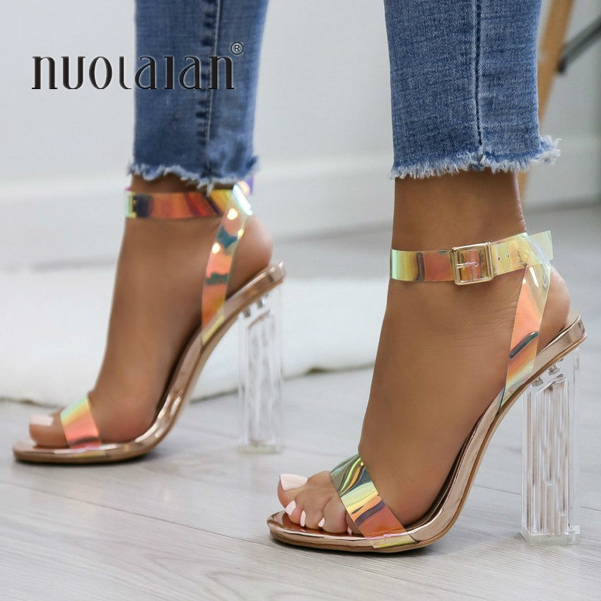 2019 Fashion PVC Women Sandals Summer Open Toed High Heels Women Transparent Heel Sandals Woman Party Shoes Discount Pumps 11CM