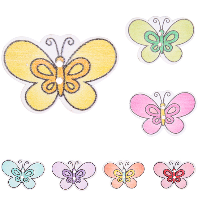 wholesale 20pcs snail color butterfly 2 hole eco friendly wooden buttons diy sewing scrapbooking crafts - Color Butterfly 2